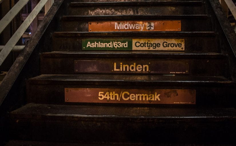 Chicago Elevated Train Station Steps