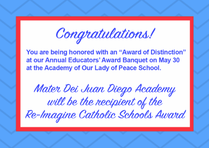 TWIN-CS Member Mater Dei Juan Diego Academy To Receive the Re-Imagine Catholic Schools Award